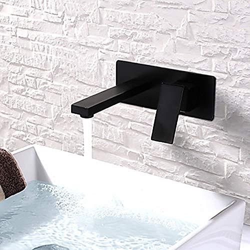 MGWA Wasserhahn Waschbecken Wasserhahn - Modernes schwarzes Hotel Wand-Einhand-Zwei-Loch-Badewanne Wasserhahn