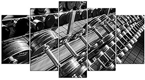 Cuadro En Lienzo 5 Piezas XXL Decoracion De Pared Diseño Gimnasio con Mancuernas De 5 Piezas Material Tejido No Tejido Impresión Artística Gráfica Decoracion De Pared