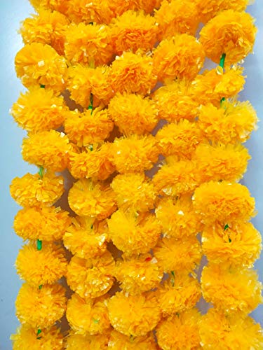 Marigold Flower Garlands Artificial Light Orange Garlands 5 Feet Long, for Parties, Indian Weddings, Indian Theme Decorations, Home Decoration, Photo Prop, Diwali, Indian Festival Pack of 5