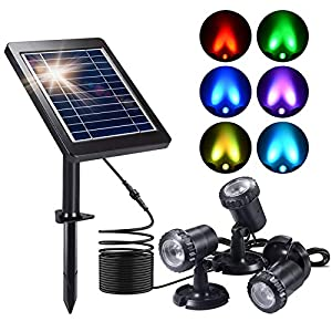 Solar Pond Lights, Ymenow 3-in-1 Set Amphibious Submersible Light Waterproof LED RGB Underwater Spotlights with 4…