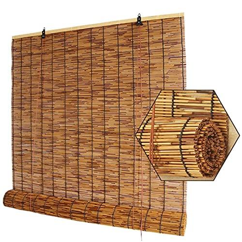 KLMN Patio Al Aire Libre con Persianas de Bambú,Cortina Opaca de Caña Natural de Ventana de Persiana Romana con Bloque UV Al 70% para Balcón/Pérgola,W71xH183cm/28x72in