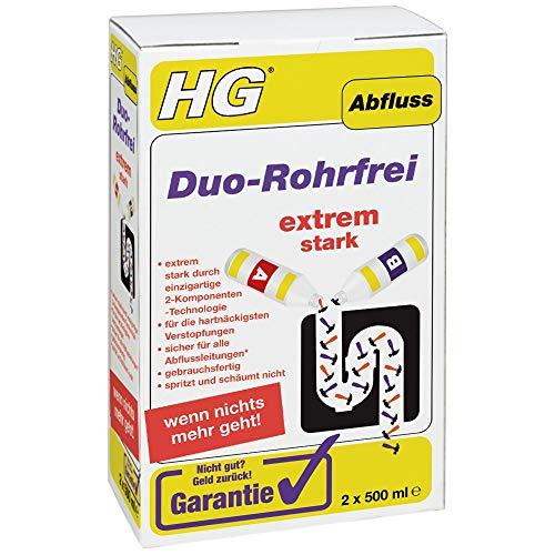 HG, Duo Rohrfrei 1L Kraftvolle Abflussreiniger für Hartnäckigste Verstopfungen Gebrauchsfertig, Farblos, 1000 milliliter