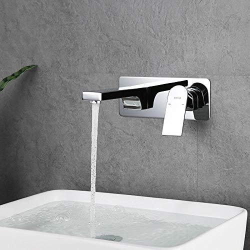 VZJSLT Moderne waterkraan, retro-waterkraan, 360 graden draaibaar, roestvrij staal, waterkraan, wandmontage, waterkraan, koude muur, embedded-box, inbouw wastafel, zwart wastafel, waterkraan