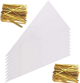 Zicome 200-Piece Cone Shaped Clear Treat Party Favor Bag with Twist Ties, 6-1/2-Inch by 12-Inch