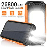 AMZGO Solar Charger 26800mAh,Portable Solar Power Bank 18W PD Fast Charger with Ultra-Bright 60 LEDs Light and Type-C in/Output&18W USB Outputs,Waterproof External Battery for Camping Outdoor