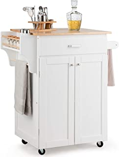 Giantex Rolling Kitchen Island, Utility Kitchen Cart with Spice Rack, Towel Rack, Portable Kitchen Trolley Cart for Serving with Rubber Wheels, Rubber Wood Countertop (White)