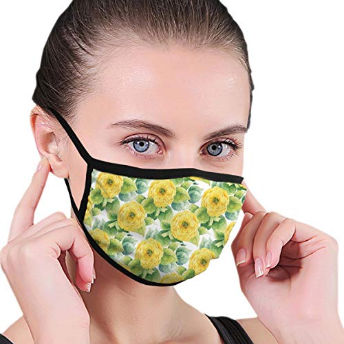 MSGDF Fashion 3D Face_mask_Protect Printed Gesichts-Mund-SchutzFeline,Blooming Ranunculus Gardening Bedding Plants Leaves Watercolor Artwork