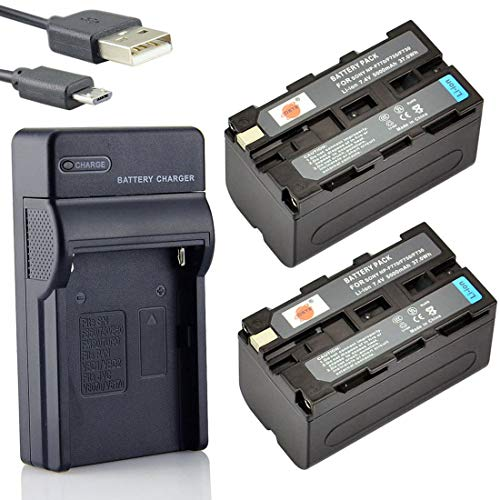 DSTE NP-F750 Li-Ionen Batterie (2-Pack) und Micro USB Ladegerät Anzug kompatibel mit Sony CCD-SC5 CCD-TRV80PK DCR-TRV820 CCD-SC55 CCD-TRV81 DCR-TRV820K CCD-SC65 CCD-TRV815 DCR-TRV9 CCD-TR3 CCD-TRV82 DCR-TRV900 CCD-TR3000