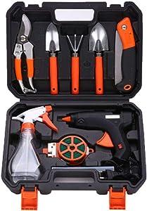 MAS MODO Professional Orange 9 Piece Aluminum Portable Gardening Tool Set with Plastic Tool Storage Box