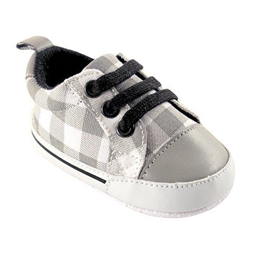 Luvable FriendsBoy's Print Canvas Sneaker - K - Bedruckte Stoff-Sneaker für Junge - K Unisex-Kinder , Grau (Gray Plaid), 6-12 Monate