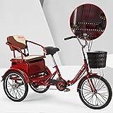 SN Plegable Triciclos para Adultos Bicicleta De 3 Ruedas 1 Velocidad Carga con Cesta Compra Asiento Ajustable Frenos Traseros Delanteros para Hombres Mujeres (Color : Red)
