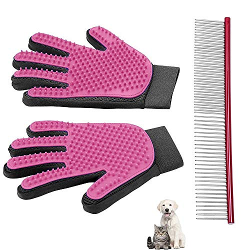 Yatoo Pet Grooming Glove Comb Brush for Cat Dog Massage Tool Kit Long Short Fur Hair Remover Mitt Gentle Removes Tangles Knots Loose Fur and Dirt 2 Gloves and a Stainless Steel Comb