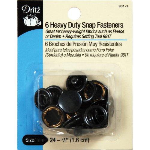 Dritz Heavy-Duty Snap Fasteners 5/8' 6/Pkg-Black