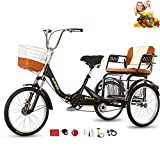 Tricycle Adult Folding Bicycle Comfortable seat 3 Wheel Bicycle Rear Enlarged Vegetable Basket Double Chain 20inch Shock Absorber Front Fork for Parents and Children Maximum Load 200kg