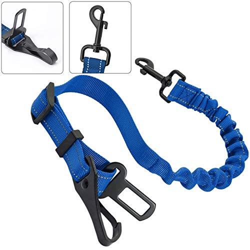 3-In-1 Haustier Auto Sicherheitsgurt,Sicherheit Gurt für Haustiere, Haustier Sicherheitsgurt,Haustiere Hundegurt,Haustiere elastischer Anschnallgurt,Einstellbar Hundegurt Sicherheitsgeschirr(Blau)