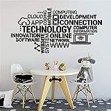 Calcomanía de vinilo para pared con letras tecnológicas, innovación en Internet, nube de palabras, decoración moderna para el hogar, pegatina de pared A9 29x57cm