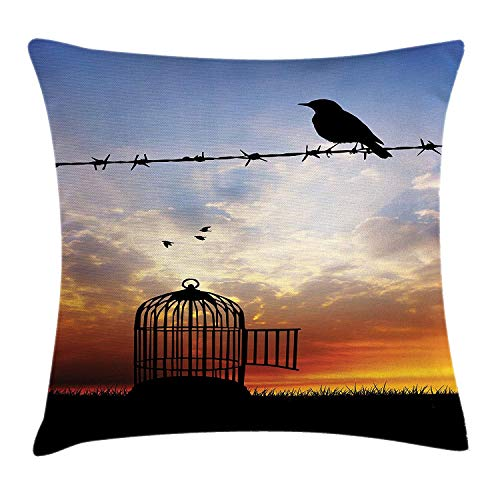 FAFANIQ Barbed Wire Throw Pillow Cushion Cover, Escaped Bird on Barbed Wire Birdcage Sparrow Freedom Meadow at Sunset, Decorative Square Accent Pillow Case, Blue Black Orange, 18 X 18 Inches