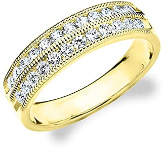50CTTW Double Row Diamond Ring, 1/2ct 2-Row Wedding Anniversary Ring in 10K Gold