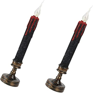 OSALADI 2pcs Halloween Led Candle Electric Long Candles LED Flameless Taper Candle Battery Operated Candle for Home Wedding P