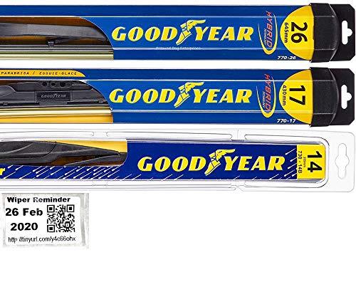 Windshield Wiper Blade Set/Kit/Bundle for 2014-2018 Subaru Forester - Driver, Passenger Blade & Rear Blade & Reminder Sticker (Hybrid with Goodyear Rear)
