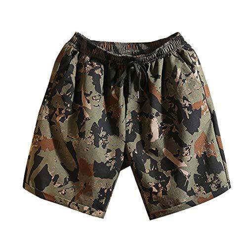 Alikey 2019 Cargo broek, meerkleurig, van katoen, zomer, korte mouwen, voor heren, zwemshorts, badpak, met net, tropische stijl, reis, korte sportbroek om snel te drogen op het strand