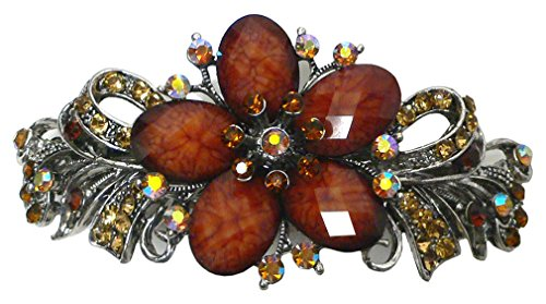 Gorgeous Barrette with Beads and Crystals U86012-0052amber by Bella