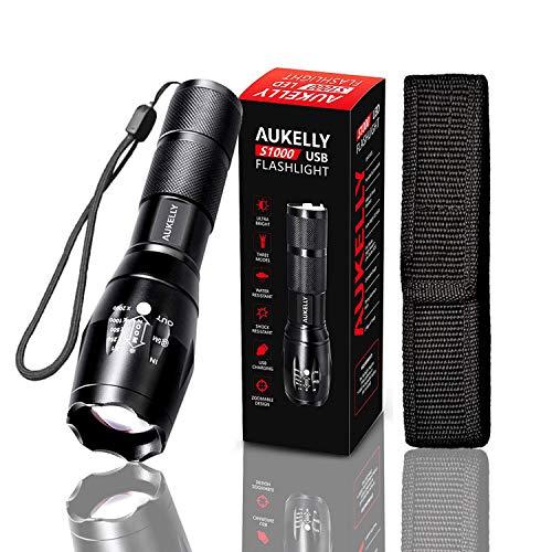 AUKELLY Linterna USB Recargable Linternas LED Alta Potencia Tactica Linterna Militar,Impermeable Linternas,3 Modo,Zoomable,para Ciclismo,Camping,con 18650 Batería Incorporada