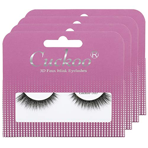Cuckoo Eyelashes 3D Faux Mink Lashes 15mm Natural False Eyelashes 4 Pairs/set Handmade Luxurious Volume Fluffy Lashes (Cuckoo 310)
