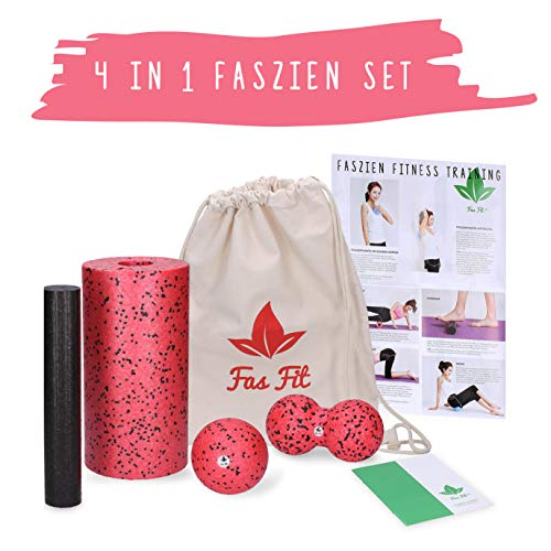 Faszien Fitness 4 in 1 Set: Faszienrolle + Mini-Rolle + Duoball + Faszienball + Baumwoll-Turnbeutel + 16seitiges Trainingsheft in Farbe + eBook
