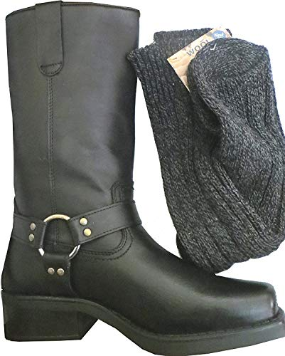 Set de botas largas de vaquero y calcetines, para hombre, piel de ternero, estilo Terminator, color negro, talla 42.5