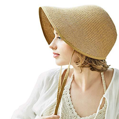 F FADVES French Straw Bonnet Cap for Women Victorian Sun Hat Chin Strap Foldable Light Khaki