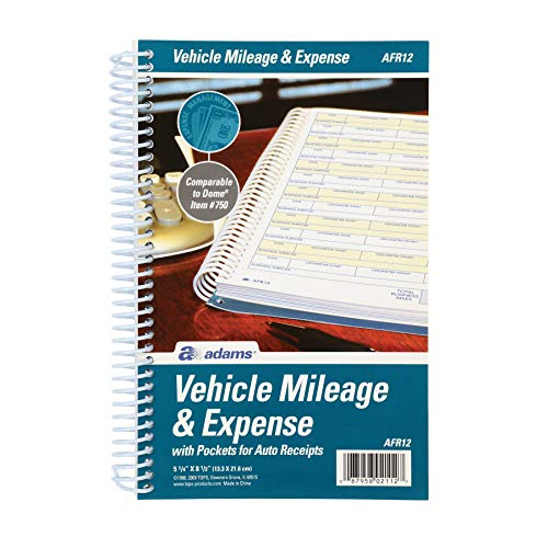 "Adams ABFAFR12 Vehicle Mileage and Expense Journal, 5-1/4"" x 8-1/2"", Fits the Glove Box, Spiral Bound, 588 Mileage Entries, 6 Receipt Pockets,White"