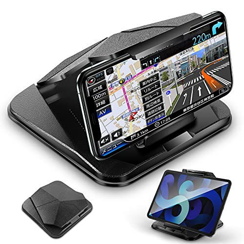 Mindsky 車載ホルダー,携帯画面の反射を防ぎスマホホルダー, 取り付けが超簡単で安定性(3M滑り止めシリコンパッド)が高く、ダッシュボード・デスクにも適用な新携帯ホルダー。スマホスタンド機能付き車スマホホルダー。75°-105°調整 のスマホホルダー 車。iPhone/Android/Kindle/GPS/Torque/9.6インチまで全機種対応【12ヶ月安心保障】(ブラック)
