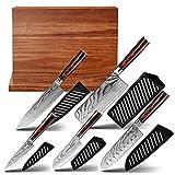 oxxow - Juego de cuchillos de cocina con bloque magnético en ambos lados, de acero de damasco japonés con mangos de madera de pakk, extremadamente afilado de 67 capas, dureza de la hoja 60±2HRC.