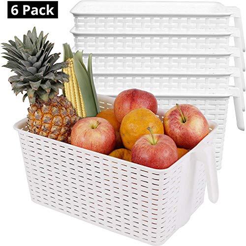 Kurtzy Nevera Cestas (Pack de 6) - Blanco Plástico Cestas con Mango - Cocina Cestas para Organizar Estantes, Alacenas, Baños (L 33 x W 19.5 x H 14.5 cm)
