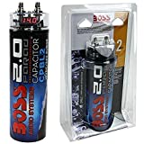 1 condensatore compatibile con BOSS 2 farad impianti fino a 2000 watt rms 1 2 3 4 5 10 capacitor con accensione cavo remote spl auto nero, 1 pezzo