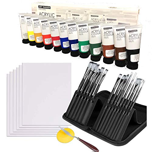 Acrylic Painting Set - Professional Paint Supplies - 22ml Paint Tubes x 12, 8x10 Panels Boards x 6, 15 Paintbrushes, Paint Knife and Sponge - Kit for Adults, Teens, Students