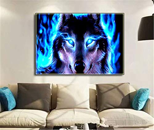 Puzzle 5D Cross Stitch fire Wolf Diamond Painting Rhinestone Embroidery Full Diamond Round Diamond/Square Diamond Mosaic Art Diamond Painting Home Decoration Gift D2821