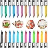 RATEL Juego de Pintura para Porcelana, 24 colores(12 clásicos+12 metálicos) impermeable permanente Pintura de Cerámica, bolígrafo de pintura de porcelana, para tazas, platos, cerámica