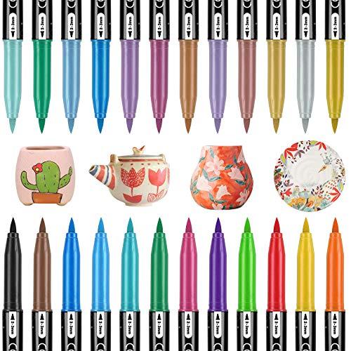RATEL Porzellan Pinselstift, 24 Farben(12 Classic + 12 Metallic)Kein Ausbluten Porzellan Farbe Permanent wasserdicht Keramik Marker Stifte, Geschirrspüler Safe Porzellanfarbe für DIY Tassen, Teller
