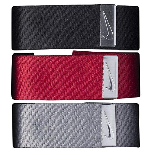 Nike 3 Pack Webbing Golf Belt 2019 Black/Red/Gray One Size Fits All