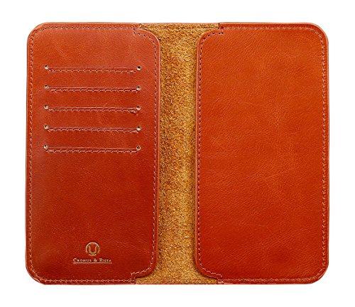 Cronus & Rhea - Smartphone Geldbörse aus Leder - Modell: Cerberus - Mit Geschenkbox - Geldbeutel Hülle Portemonnaie Tasche (Cognac, L)