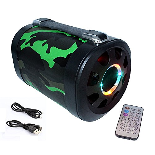 Hromen Portable Bluetooth Speaker Wireless Speaker, Big Bomb Speaker in 10W Power, Bring Amazing Music Built in Subwoofer, FM Radio,5 Music Models,USB Driver and LED Beat with Remote, Rugged