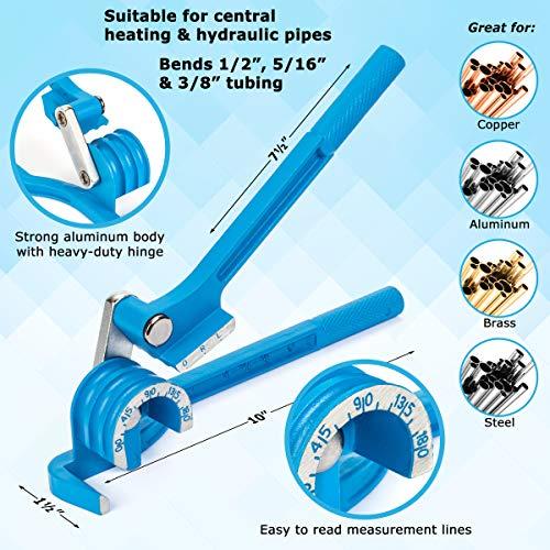 LORESO Tube Bender, Tubing Bender 0-180 Degrees Pipe Bender - 3 In 1 Copper Bender for 1/4