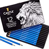 Castle Art Supplies 12 piece Drawing Pencils, Quality Graphite Sketch Pencils with BONUS tin case. Perfect Starter Sketching Pencils or Top Up Set for Art Supplies