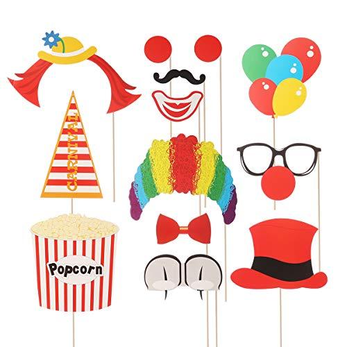 Amosfun 13 pcs Fotorequisiten Hut Brille Popcorn Clown Ballon für Kinder Karneval Party Geburtstagsparty