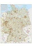 Verkehrswegekarte Deutschland Wandkarte mit Metallbeleistung