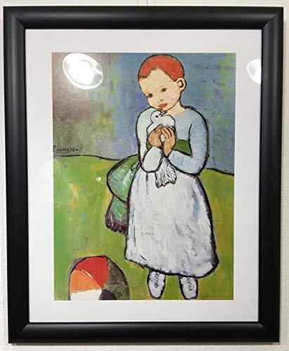 Art-Galerie Gerahmtes Bild Holz schwarz, Plexiglas normal Pablo Picasso - Kind mit Taube