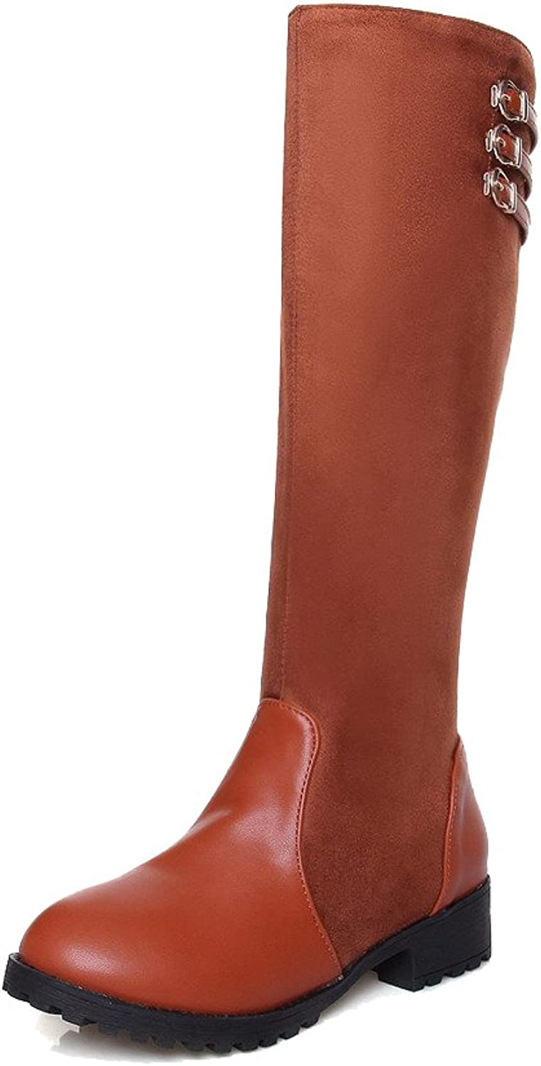 WeiPoot Women's Soft Material Pull-on Round Closed Toe Low-Heels High-top Boots