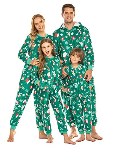 Ekouaer Family Matching Pajamas Set Fleece Onesie Sleepwear Christmas Parent-Child Zipper Jumpsuit with Pocket (Pat2-men, M)